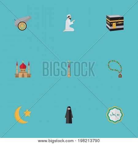Flat Icons Decorative, Praying Man, Minaret And Other Vector Elements