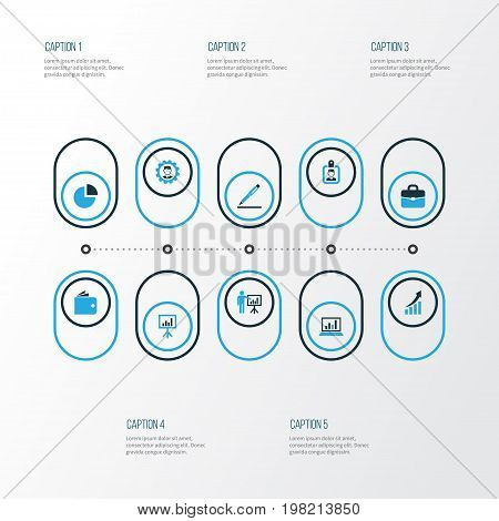 Business Colorful Icons Set. Collection Of Pie Chart, Presentation, Manager And Other Elements