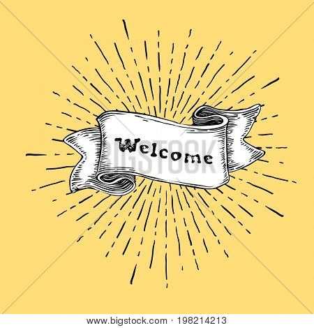 Welcome sign. Vintage sign with