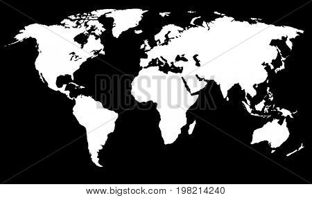 Simplified World Map  Raster Illustration. Can use as overlay mask or separate symbol design element. Isolated on black background.