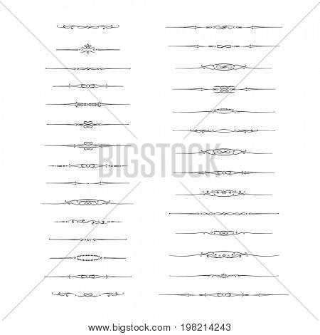 Dividers  calligraphic design elements and page decor. Vintage decorative elements on white background.