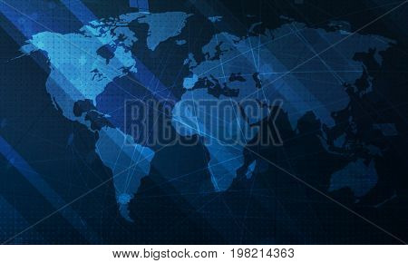 Abstract blue world map background.  Digital global technology concept.  Raster Illustration.