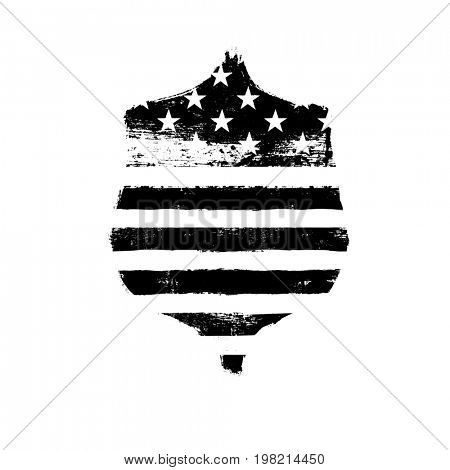 Defence symbol. Shield icon shaped american flag. Monochrome  Raster illustration.