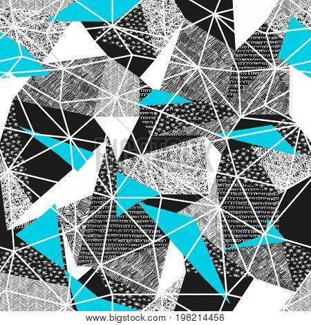 Geometric seamless pattern in retro style. Vintage background.Triangles and hand drawn patterns. Low poly seamless repeat pattern. Triangular facets.  raster pattern. Cyan Triangles