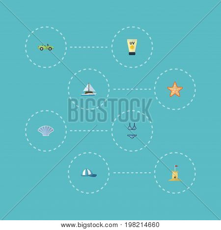 Flat Icons Car, Conch, Sailboard And Other Vector Elements