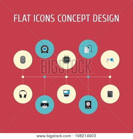 Flat Icons Storage Device, Hard Disk, Web Cam And Other Vector Elements
