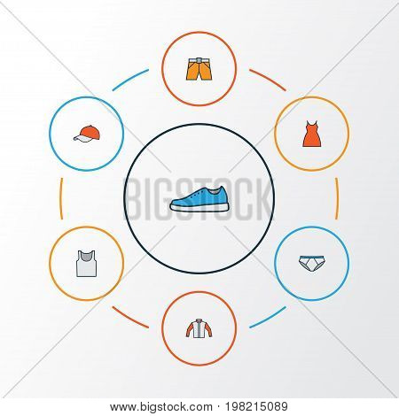 Dress Colorful Outline Icons Set. Collection Of Sneakers, Underwear, Panties And Other Elements