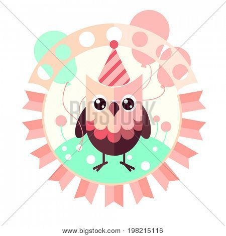 Cute owl with balloons. Flat design greetings card, invitation template