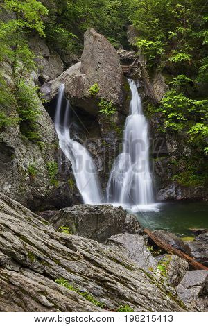 Spring in Bash Bish Falls located in Mass