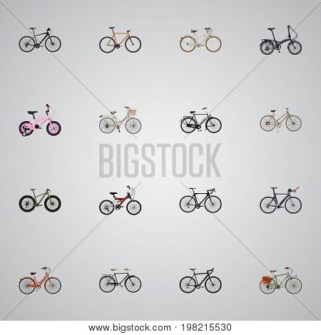 Realistic Working, Hybrid Velocipede, Fashionable And Other Vector Elements