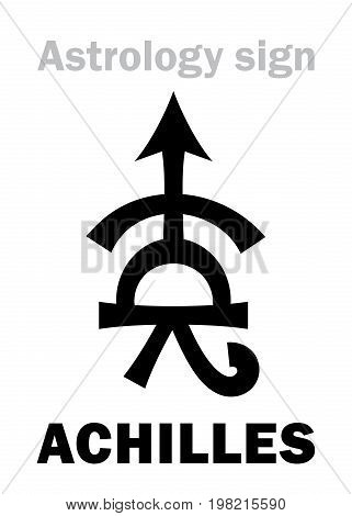 Astrology Alphabet: ACHILLES, asteroid #588. Hieroglyphics character sign (single symbol).