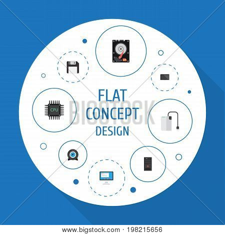 Flat Icons Diskette, Hard Disk, System Unit And Other Vector Elements