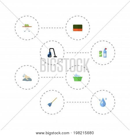 Flat Icons Towel, Besom, Laundry And Other Vector Elements