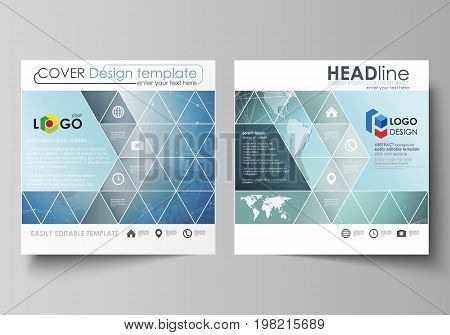The minimalistic vector illustration of the editable layout of two square format covers design templates for brochure, flyer, booklet. Chemistry pattern, connecting lines and dots. Medical concept