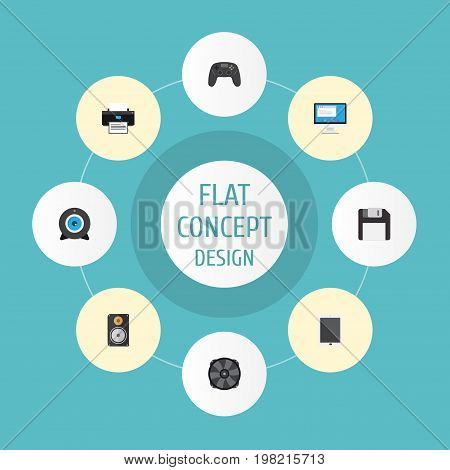 Flat Icons Cooler, Web Cam, Controller And Other Vector Elements