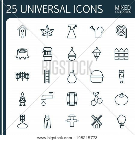 Icons Set. Collection Of Stairway, Sweet Berry, Root And Other Elements