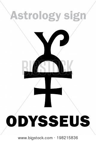 Astrology Alphabet: ODYSSEUS (Ulysses), asteroid #1143. Hieroglyphics character sign (single symbol).