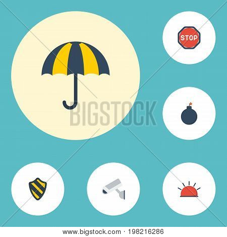 Flat Icons Siren, Parasol, Shield And Other Vector Elements