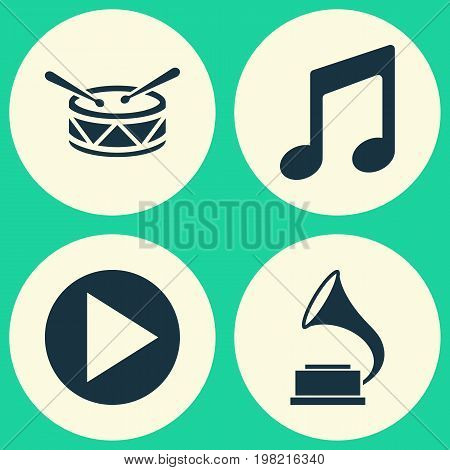 Music Icons Set. Collection Of Phonograph, Music, Barrel And Other Elements