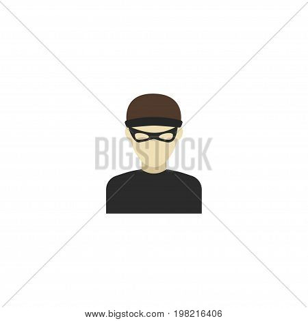 Flat Icon Criminal Element. Vector Illustration Of Flat Icon Thief Isolated On Clean Background