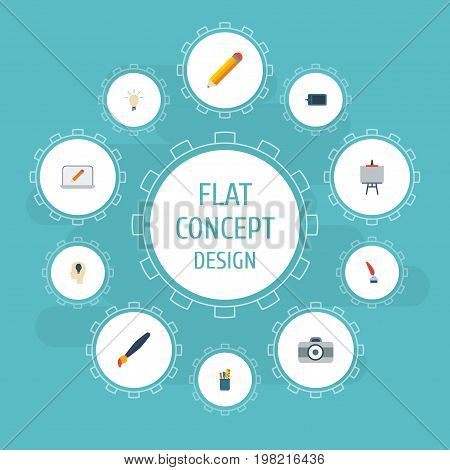 Flat Icons Pen, Gadget, Idea And Other Vector Elements