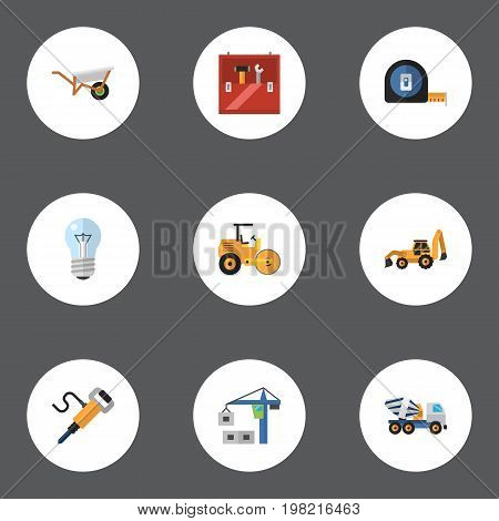 Set Of Industry Flat Icons Symbols Also Includes Measure, Lifting, Pushcart Objects.  Flat Icons Pneumatic, Toolkit, Handcart Vector Elements.