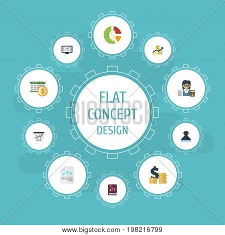 Flat Icons Coins Pile, Deadline, Paper And Other Vector Elements