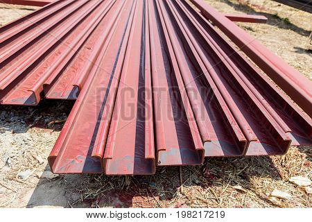 Building construction work steel roof structure.Supports concrete tile roof.