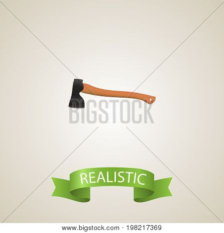 Realistic Ax Element. Vector Illustration Of Realistic Hatchet Isolated On Clean Background