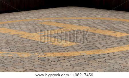 Background helipad yellow  circle asphalt empty deck