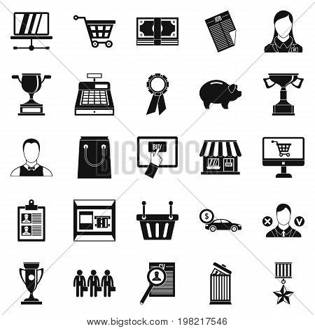 Monetary expenses icons set. Simple set of 25 monetary expenses vector icons for web isolated on white background