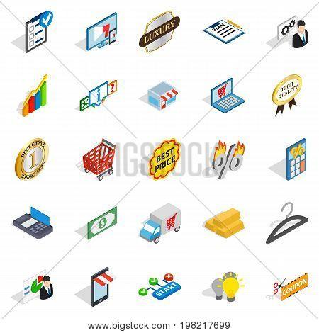 Financial center icons set. Isometric set of 25 financial center vector icons for web isolated on white background