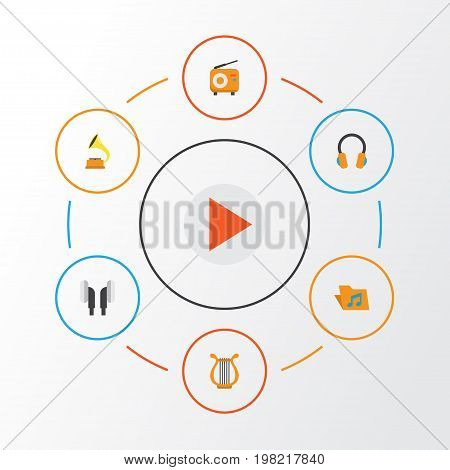 Music Flat Icons Set. Collection Of Broadcasting, Ear Muffs, Sonata And Other Elements