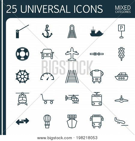 Transportation Icons Set. Collection Of Anchor, Flight Basket, Ship And Other Elements