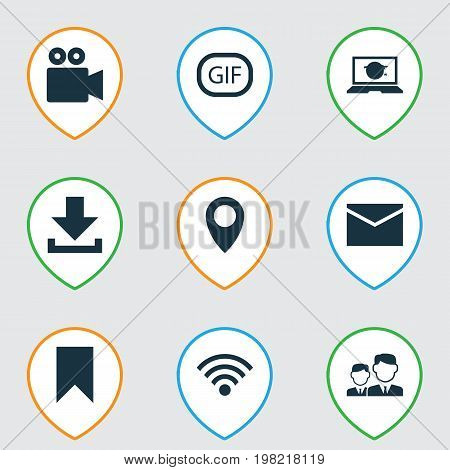 Media Icons Set. Collection Of Wireless Connection, Letter, Camcorder And Other Elements