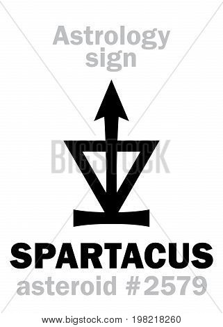Astrology Alphabet: SPARTACUS, asteroid #2579. Hieroglyphics character sign (single symbol).