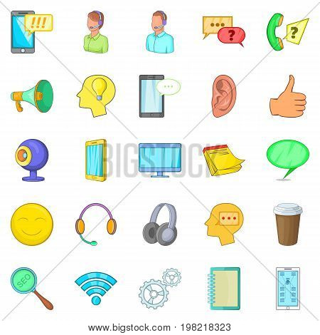 Cell phone icons set. Cartoon set of 25 cell phone vector icons for web isolated on white background