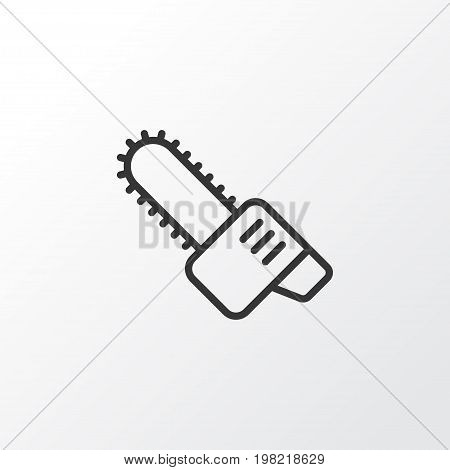 Premium Quality Isolated Gasoline Cutter Element In Trendy Style.  Chainsaw Icon Symbol.