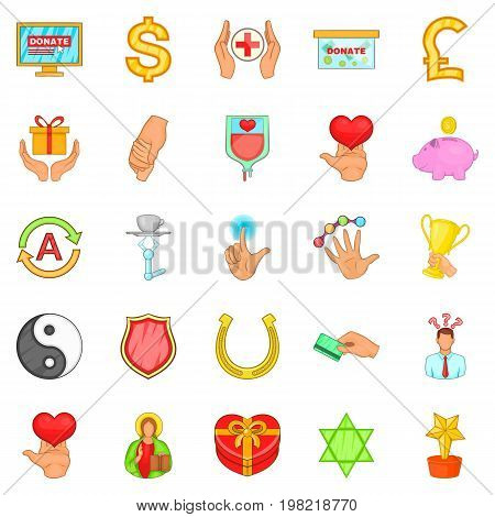 Help icons set. Cartoon set of 25 help vector icons for web isolated on white background