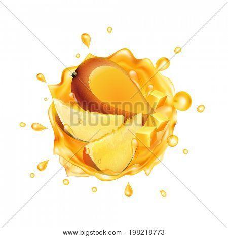 Mango juice with fruit. Realistic splash of juice with mango and slices mango. Fresh fruit. The raster version.