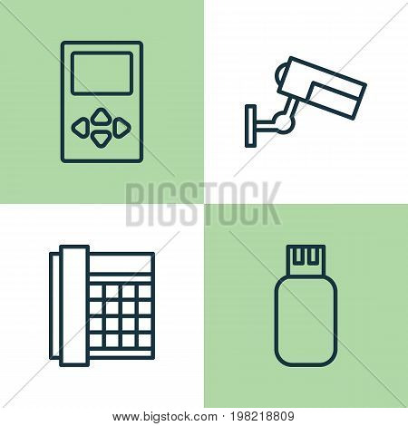Gadget Icons Set. Collection Of Work Phone, Usb, Player And Other Elements