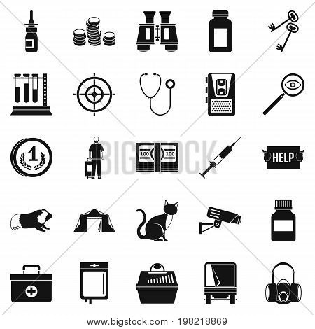 Chase icons set. Simple set of 25 chase vector icons for web isolated on white background