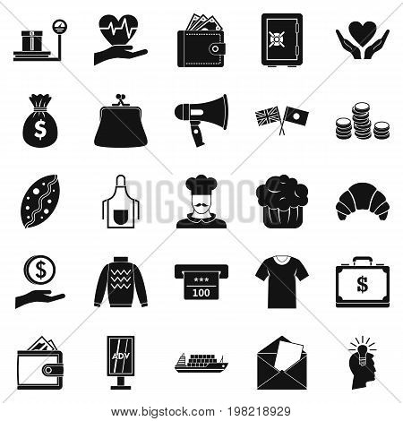 Alms icons set. Simple set of 25 welfare vector icons for web isolated on white background