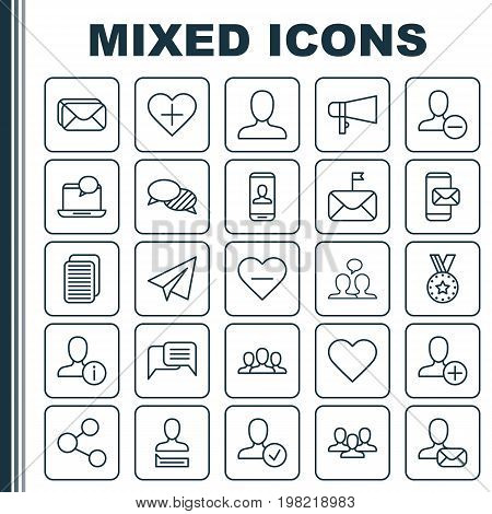 Social Icons Set. Collection Of Communication, Privacy Information, Delete And Other Elements