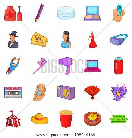 Screen icons set. Cartoon set of 25 screen vector icons for web isolated on white background