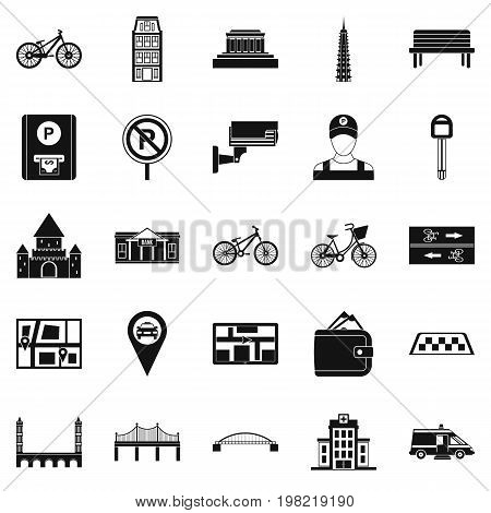 Getting around the city icons set. Simple set of 25 getting around the city vector icons for web isolated on white background