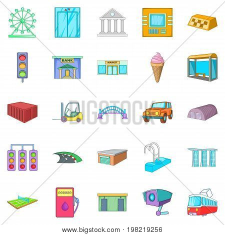 Urban entertainment icons set. Cartoon set of 25 urban entertainment vector icons for web isolated on white background