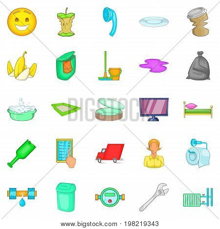 Cleaning service icons set. Cartoon set of 25 cleaning service vector icons for web isolated on white background