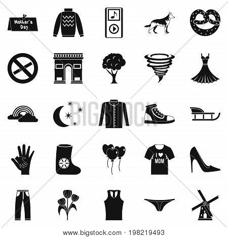 Walking clothes icons set. Simple set of 25 walking clothes vector icons for web isolated on white background