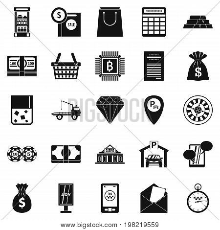Hard cash icons set. Simple set of 25 hard cash vector icons for web isolated on white background